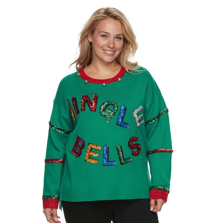 Plus Size Fashion Avenue US Sweaters Applique Ugly Christmas Sweater, Women's, Size: 3XL, Med Green