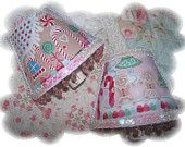 Whimsical SET * Gingerbread House and Candy Cane PINK Night Lights * Christmas Holiday GIFT