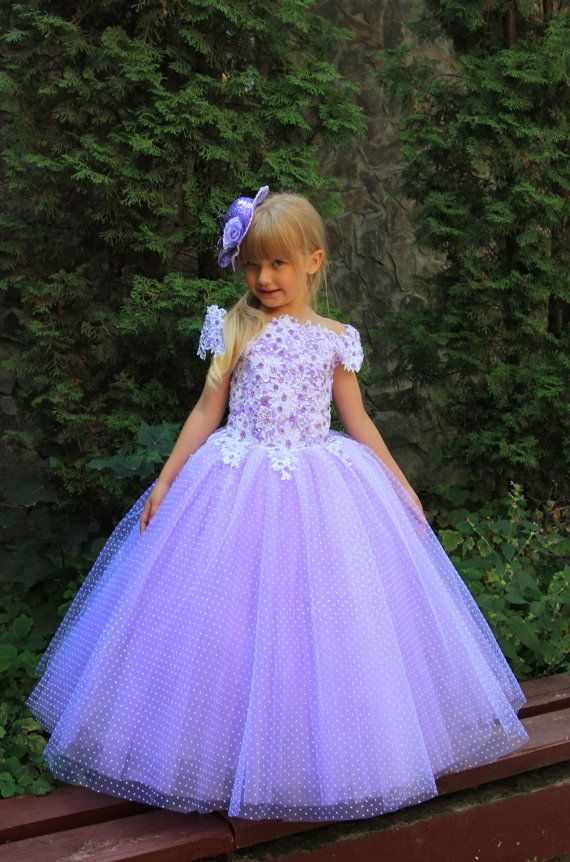 Lavender Fuchsia White Aquamarine Blue Pink Flower Girl Dress - Wedding Party…