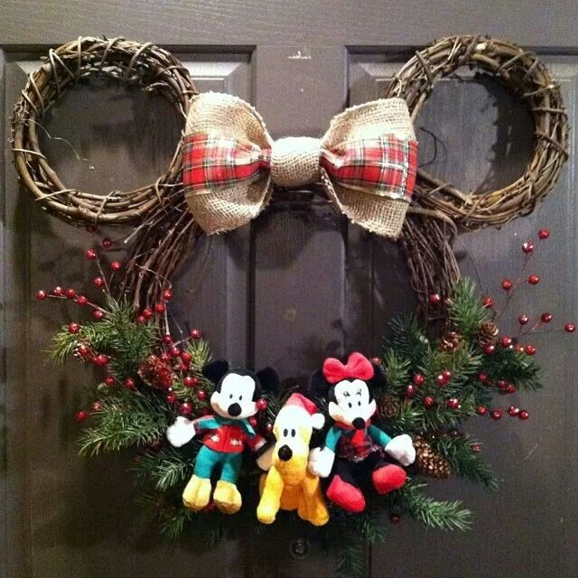 Disney wreath! DIY...super cute! One of a Kind! but without the stuffed things, would look so much better without those.