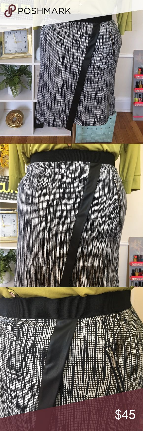 "Asymmetrical Skirt NWT & NWOT - 2 sizes Available - 20W and 22W - Asymmetrical - Two silver zipper embellishments - Not a pocket - Purchased for clients - Returns weren't accepted - elastic waists fits very comfortable and has a nice fit - not a tight pencil skirt - ""Bauhaus Bold"" Rafaella Skirts Asymmetrical"