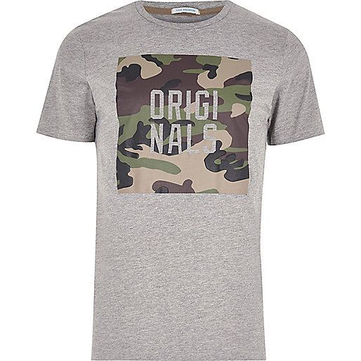 Grey marl Jack & Jones camo print T-shirt - print t-shirts - t-shirts / vests - men