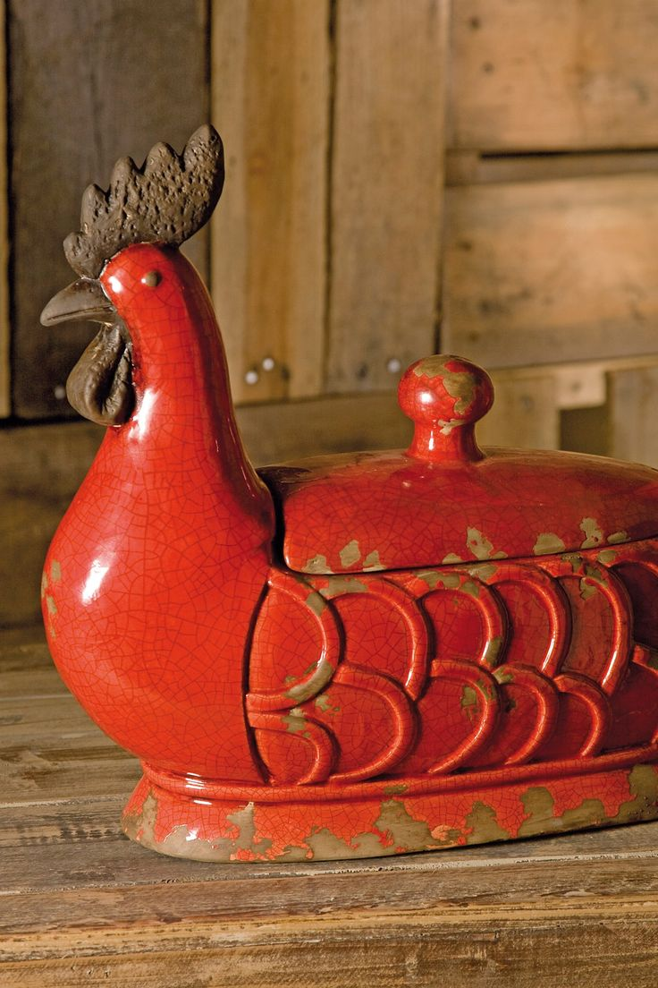 Red chickens! Parker lidded rooster dish