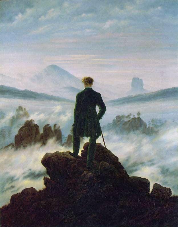 Caspar David Friedrich, VIANDANTE SUL MARE DI NEBBIA, 1818, 95 cm x 75 cm, colore ad olio, Hamburger Kunsthalle