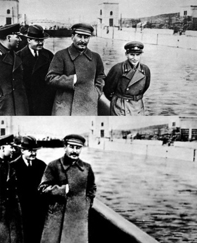 The Amazing World of Photo Editing Before Photoshop - Nikolai Yezhov was one of Stalin's most powerful officials, but in 1939 he was arrested and executed in 1940. The top photo is from the mid 1930s, and the other is from 1940. It's the best-known example of the Stalin-era image manipulation.