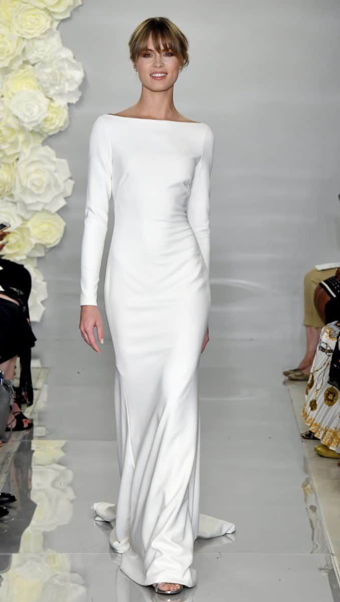 Long sleeve boat neck wedding dress in crepe with with illusion back