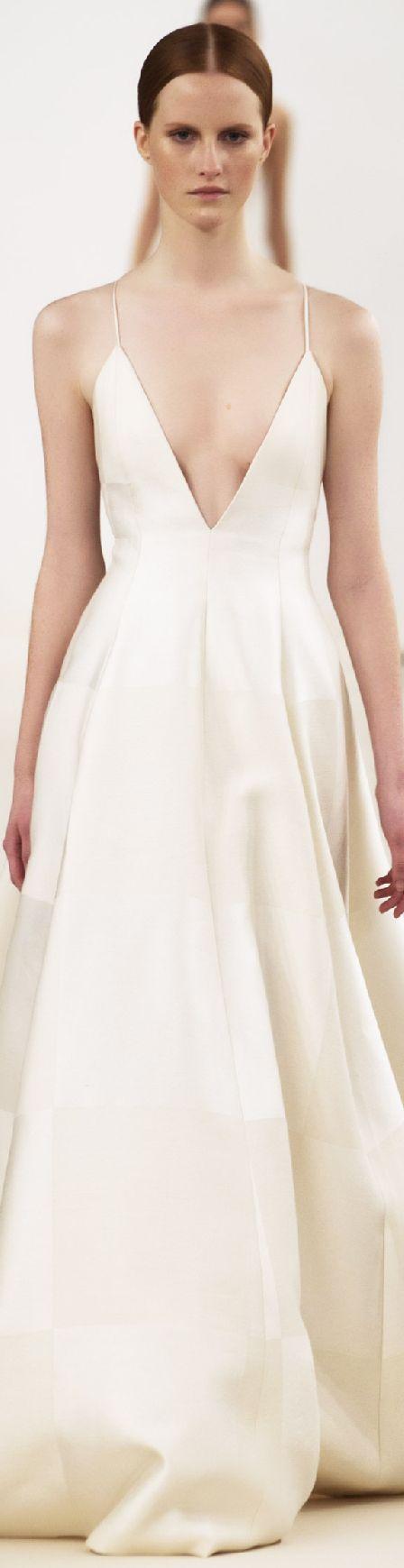 Valentino ~ Couture Spring Low V Neckline Maxi, White 2015