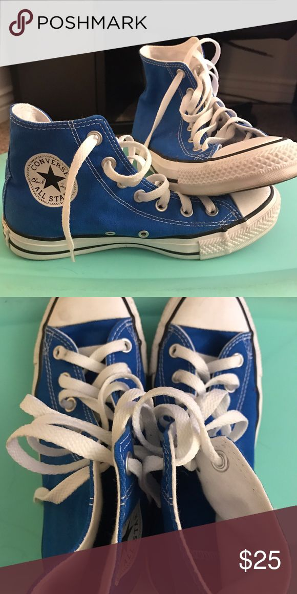 High top blue converse High top blue converse great condition!! Converse Shoes Sneakers