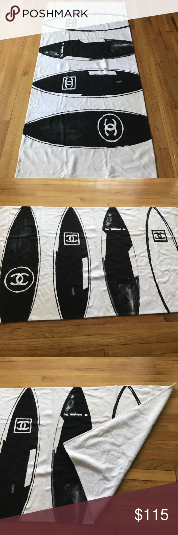 Chanel Beach Towel Super soft, super cute, surfboard Chanel Beach Towel. You will be the talk of the beach or pool. Price reflects authenticity. NWOT CHANEL Other