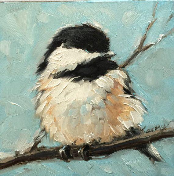 """Mésange à tête art, impressionniste, 4 x 4"""" peinture à l'huile d'une mésange…"""