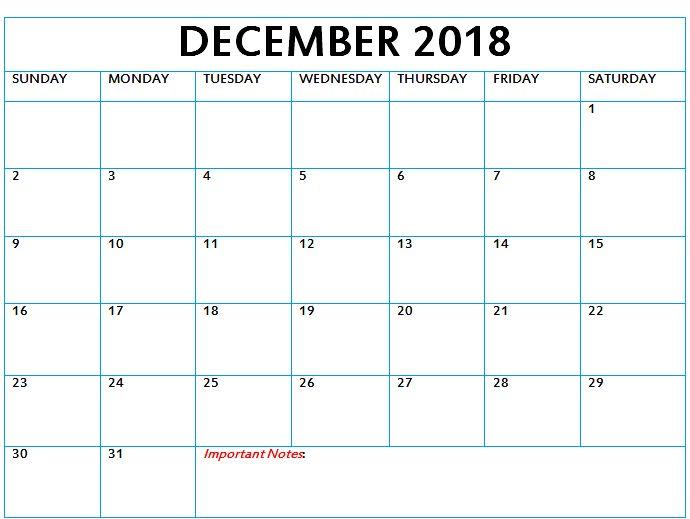 December Calendar 2018 December 2018 Calendar Pinterest