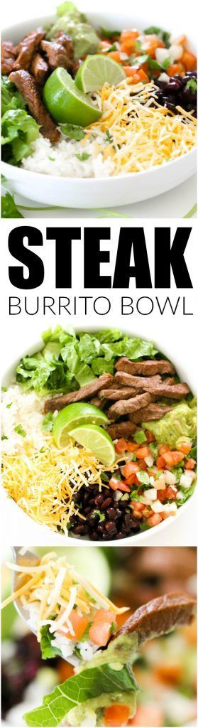 Steak Burrito Bowl - perfect for weeknight dinners and meal prep! Recipe on http://SixSistersStuff.com