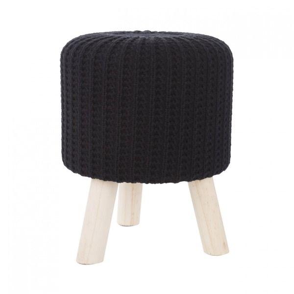 Pletená čierna taburetka do chodby