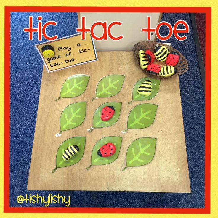 Tic tac toe. DIY ladybirds and bees