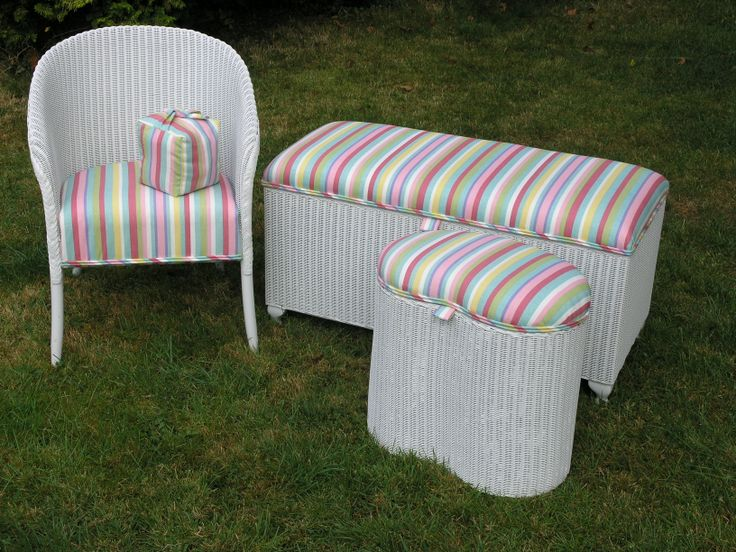 Magnolias of Edenbridge are specialists in refurbishing Lloyd Loom furniture. This group of of three have been repainted and reupholstered