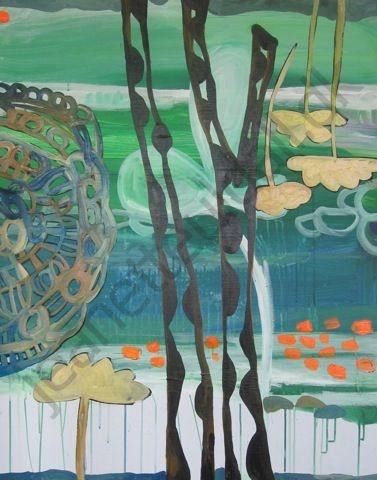 """Urtehavnen""  Olie og acryl på lærred - 80 x 100 cm    -Jeanette Uldall"
