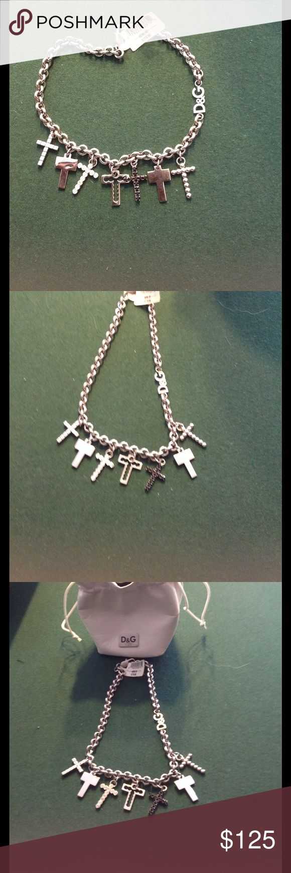 16 inch D&G silver cross necklace. 16 inch Silver D&G cross necklace with pouch. D&G Jewelry Necklaces