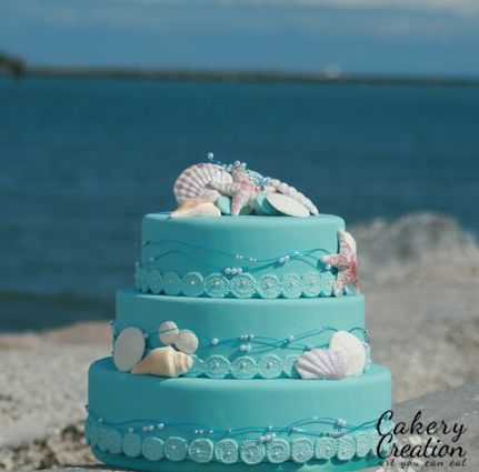 Beach Themed Wedding cake - I designed this cake a while back. I just received the photographers pics.