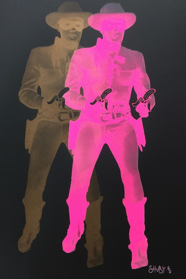 Gold & Pink Lone Rangers £295.00  By SHUBY  Colour Screenprint on Heritage 260gsm Paper. 59cm (w) x 84cm (h). Small edition of 5  http://www.deepwestgallery.co.uk/product-page/fab30996-2fe6-1144-8e9a-966c58233ede