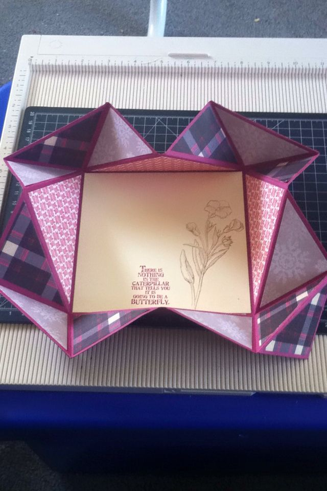 First serviette fold card unfolded