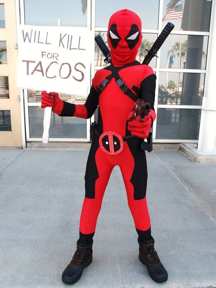 I want to keep him and give him chimichangas. LOVE this little Deadpool cosplayer! - 16 Kid Cosplayers To Follow