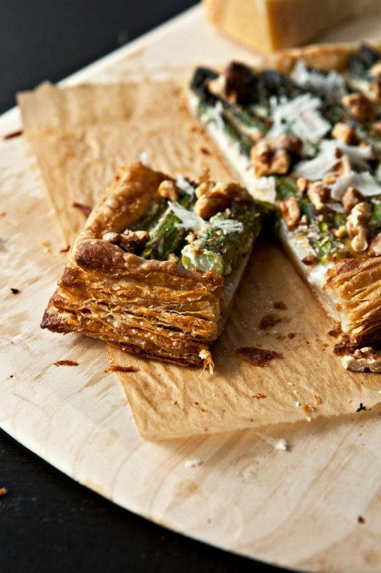 asparagus tart with walnuts and parmesan | Cravings | Pinterest