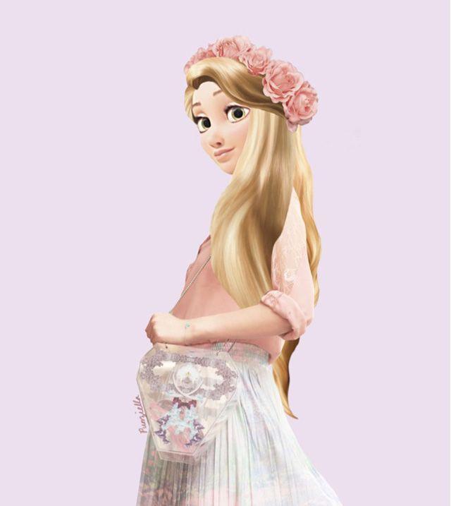 Le look des personnages Disney plutôt rétro amuse beaucoup la toile, c'est pourquoi la jeune illustratricePunziellaa décider de relooker princesses et princes avec des vêtements plus à la mode...