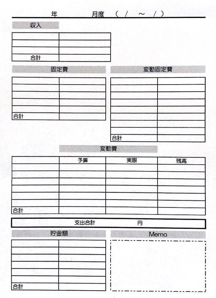 家計簿フォーマットダウンロード 集計表 家計簿 家計簿 書き方