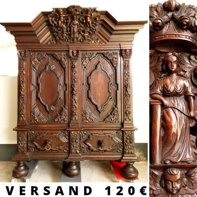 Hallenschrank Danziger Barock Eiche Um 1880 Schrank Antik Flurschrank Herrenzimmer Dielenschrank Kle Barock Hallenschrank Antik