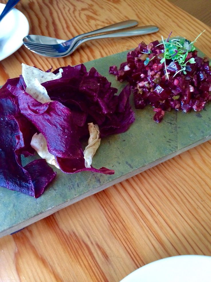 Dinner at Parker restaurant, Vancouver; beets tartare, housemate chips