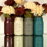 FALL Wedding and Home Decor - Painted and Distressed Shabby Chic Mason Jars - Vase - Country Harvest