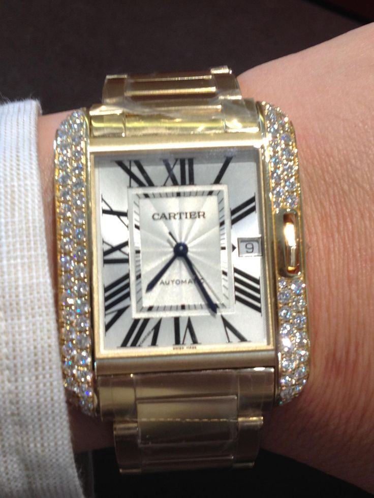 Cartier Tank Anglaise with diamonds <3