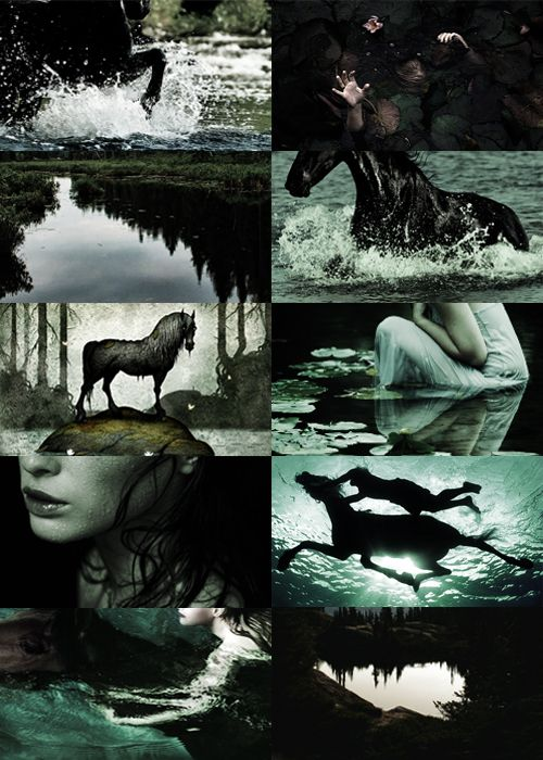 "kaijuborn: ""  Scandinavian tales and creatures Bäckahästen (The stream horse) is known for using its ethereal beauty and strength to lure children to climb onto its back and then drag them down into the dark and murky waters of streams and ponds. It..."