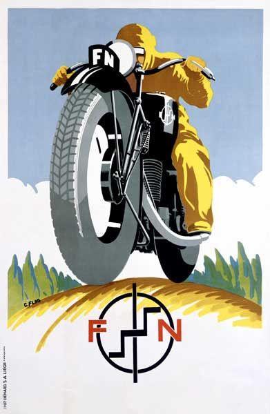 Poster Art | 1925 Czech FN Motorcycle Poster Art Print by Vintage at Barewalls.com