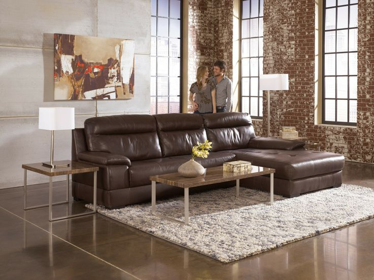 Signature Design By Ashley Luke   Espresso Contemporary Sectional With  Chaise   Hank Cocau0027s Downtown Furniture   Sofa Sectional San Jose,  California And San ...
