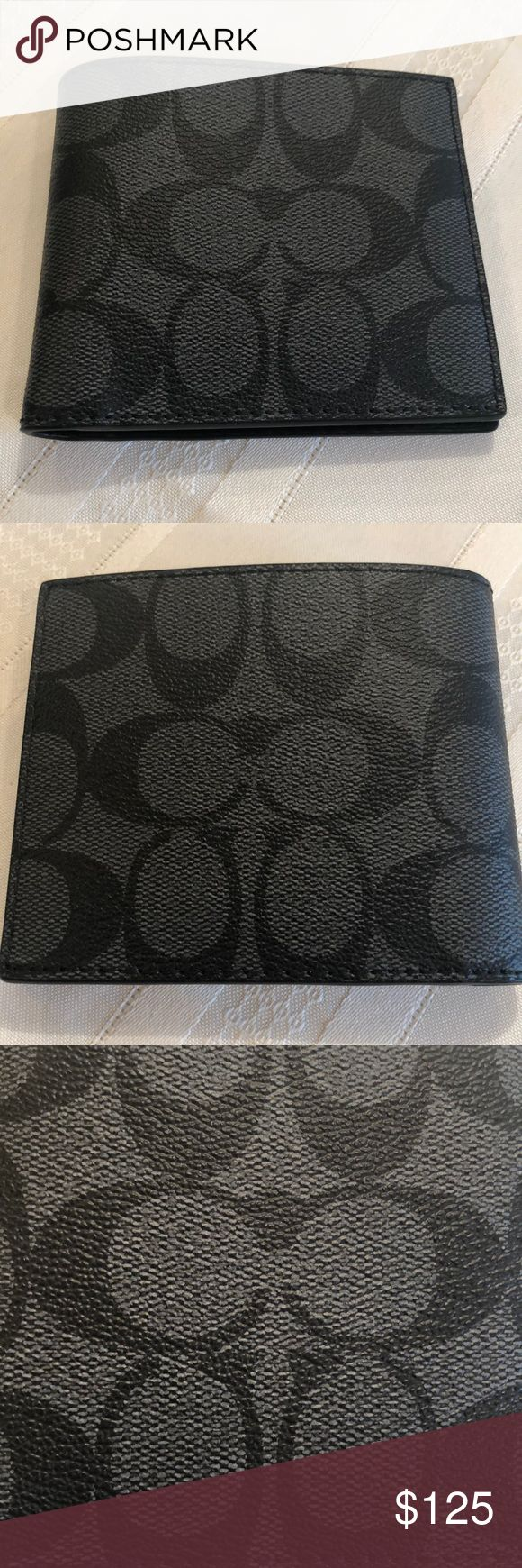 Coach Sig Men's ID Billfold – Black Coated Canvas NWT  Coach Signature ID men…