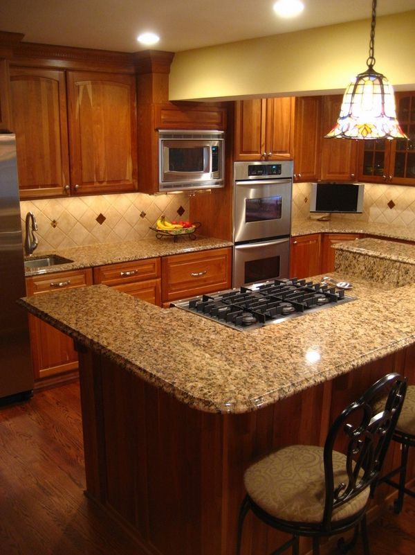 Dark Cabinets New Venetian Gold Granite Countertops