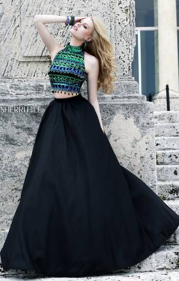 This gorgeous two piece dress is sure to impress at your prom!