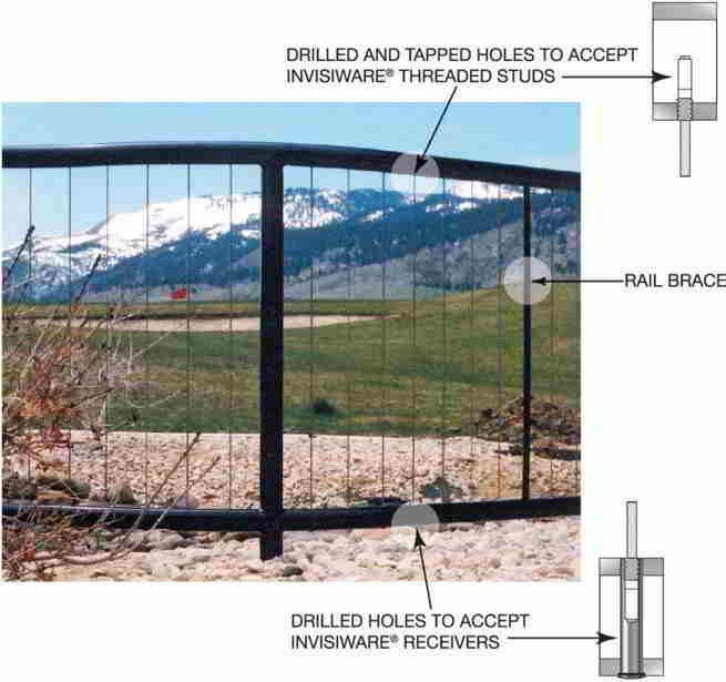 """vertical frame cable railing. designing a railing usingvertically run cablesas in-fill.Top and bottom rails are necessary in a vertical railing using cable,because mounting and tensioning hardware is attached to top and bottom rails instead of end posts. We recommend schedule 80 pipe or 2""""x2""""x1/4"""" square tubing for both the top and bottom rail, because of the forces applied when the cables are properly tensioned."""