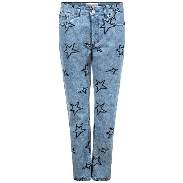 être cécile Stars Embroidery Low Rise Slouch Jean (15,980 INR) ❤ liked on Polyvore featuring jeans, blue jeans, slouchy jeans, star jeans, embroidery jeans and saggy jeans