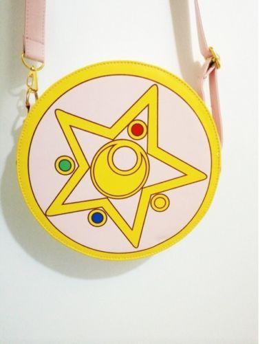Hot Harajuku Sailor Moon PU Round Zipper Makeup Bag Calvin Collectibles Handbag