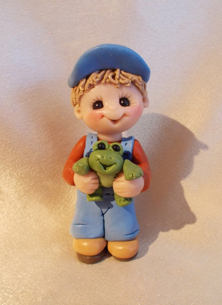 *POLYMER CLAY ~ frog boy personalized Christmas ornament polymer clay gift sculpture children toddler.