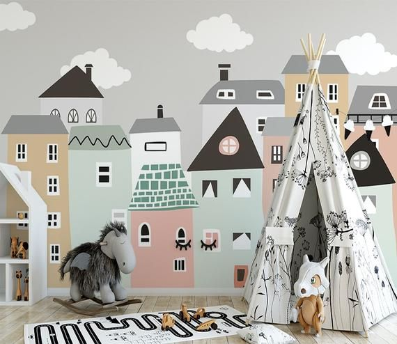 Kindertapete für Kinderzimmer Tapeten Scandi Home Wandtapeten für Kinder Little Home Wall Print