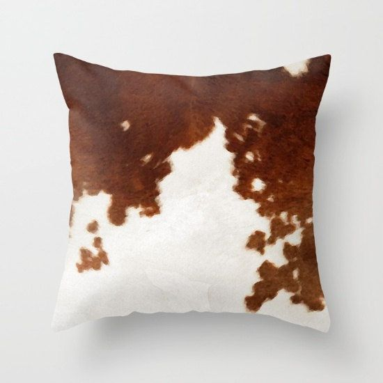 Cowhide Pillow Cow Print Pillow Brown and White Cow by HuntleighCo