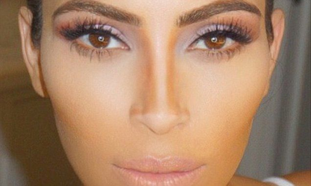 Kim Kardashian shares a selfie showing her fans how to Kontour'