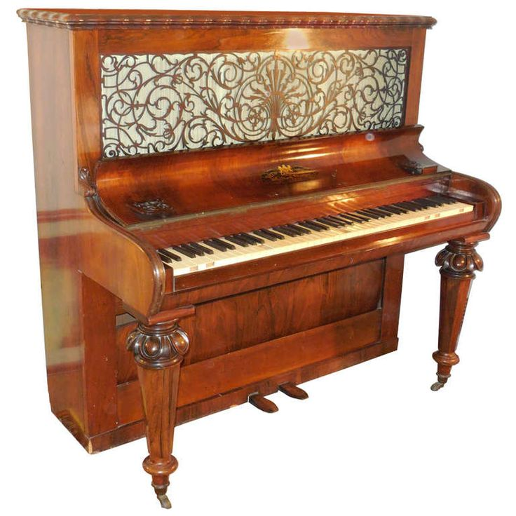 1856 Victorian Antique Upright Grand Piano | From a unique collection of antique and modern musical instruments at https://www.1stdibs.com/furniture/more-furniture-collectibles/musical-instruments/