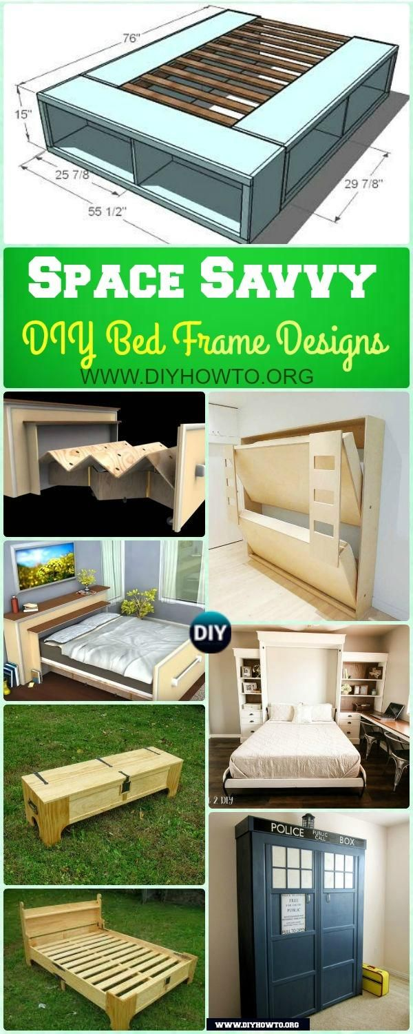 DIY Space Saving Bed Frame Design Free Plans Instructions: Space saving platform bed, built in roll in roll out bed, bed in the box, murphy bed instructions