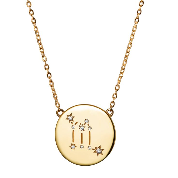 Fin halskæde med stjernetegnet skorpionengraveret ned i pladen og markeret med ædelsten.  Sterlingsølv (925), belagt med 18 karat guld, blankpoleretfinish.Længde: 55cm.  Varenummer: 2215a.
