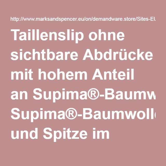 Taillenslip ohne sichtbare Abdrücke mit hohem Anteil an Supima®-Baumwolle und Spitze im Gänseblümchendesign -M&S
