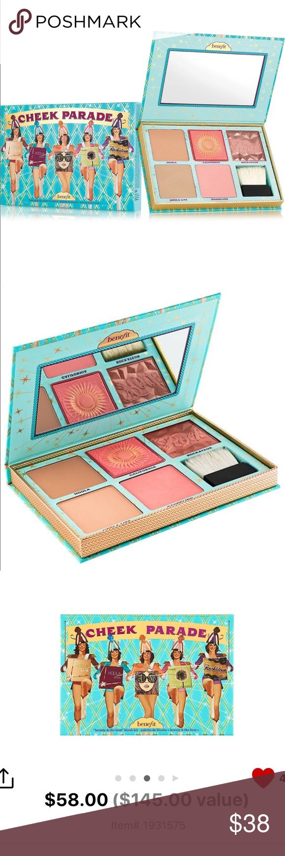 Benefit Cheek Parade Blushes & Bronzers New Benefit Cheek Parade Blushes & Bronzers New Authentic. I love this palette. This is the best combination Benefit has had in these. Galfornia is super pretty. You get this for a little over one full Size items price. Great deal. Sephora Makeup Blush